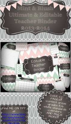 Mint and Blush Editable Teacher Binder for 2013-2014. This has everything you need to organize one binder or several binders. Great for grades K-6 across the country! Enjoy!