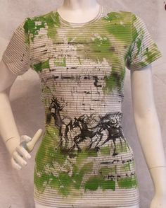 Abstract herd of horses hand painted T-shirt