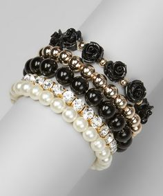 Love this Pearl & Black Rose Stretch Bracelet Set by Chit-Chat on #zulily! #zulilyfinds