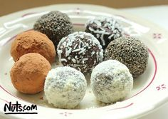 Healthy Coating Ideas for vegan chocolate bites: Almond Flower, Cacao Powder, Shredded Coconut, Chia Seeds, Mashed Walnuts..