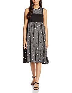 Orla Kiely Damen Kleid Gathered Dress, Grau (Charcoal), 36 (Herstellergröße: