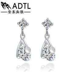 adtl hearts & arrows perfect cut cubic zirconia dangle earrings 925 sterling silver earrings engagement fine