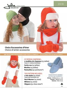 Fleece Hat, Toque, Mittens, Neck Warmer and Slippers - Sewing Patterns