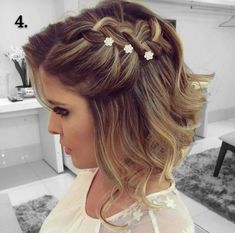 2 Bridal Hair Clip with Rhinestone Twin Flower, Bridal Hair Pins, Swarovski Rhinestone Wedding Hair Pin Set, Bobby Hair Pin - My Hairstyles - Frisuren Trends Prom Hairstyles For Short Hair, Braids For Short Hair, Teenage Hairstyles, Easy Hairstyles, Hairstyle Ideas, Hairstyles 2018, Hair Ideas, Upstyles For Short Hair, Short Haircuts