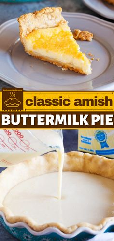 Looking for the best dessert pie ideas? Try this Amish Buttermilk Pie! This easy dessert recipe has a smooth, melt-in-your-mouth custard filling and a perfectly flaky crust. It's completely addicting! Save this recipe. Pie Recipes, Baking Recipes, Dessert Recipes, Sweet Desserts, Easy Desserts, Pie Ideas, Buttermilk Pie, Custard Filling, Pie Dessert
