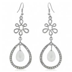 Gail's Floral Style Clear Pear Shape Dangle Earrings ($39) ❤ liked on Polyvore