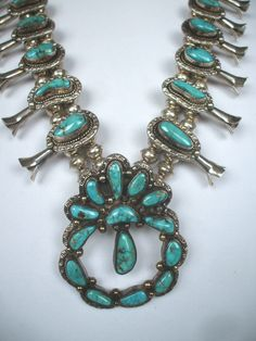 SPECTACULAR Navajo SQUASH BLOSSOM NECKLACE Sterling Silver & Bisbee TURQUOISE   eBay