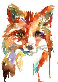"Print of Watercolor Painting ""What's the Fox Say?"" 8 x 10 Original Watercolor Painting Pink Fuschia Orange Yellow Tan Brown"