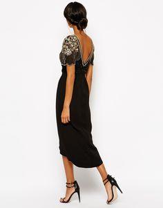 Virgos Lounge Julisa Midi Dress With Wrap Front and Embellished Shoulder