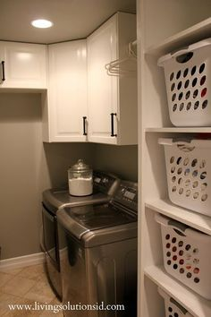 Laundry room...somday I wanna make shelves so I can have baskets like this. Loads already organizes! Such a perfect idea