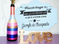 ♥ Reciclagem de garrafa de champanhe http://www.garotacriatividade.com/reciclagem-de-garrafa/  #diy #recycle #handmade #artesanato #reciclagem #garrafa