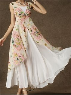 Ericdress White Floral Print Double-Layer Sleeveless Dress