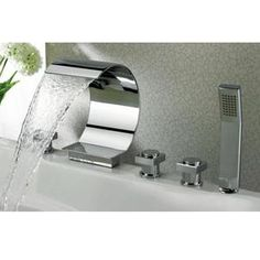 Sumerain S2049CW Deck Mounted Roman Waterfall Tub Faucet With Personal Hand Shower