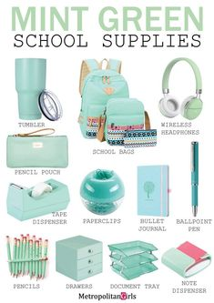 school supplies 15 Cute Mint Green School Supplies (You Will Fall in Love With) Dedicated to mint green lover. Discover school supplies in mint green.