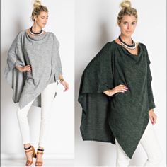 🆕EMSLEY asym poncho top - H.GREY/HUNTER GREEN Asymmetrical poncho layered top. Very soft to touch. 79% poly 18% rayon 3% spandex . AVAILBLE IN H.GREY & HUNTER GREEN. 🚨NO TRADE, PRICE FIRM🚨 Bellanblue Tops