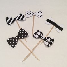 Black and White Bow tie cupcake toppers. Chevron by KraftynKatchy