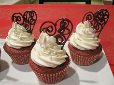 Red velvet with Butter cream frosting and a dark chocolate heart
