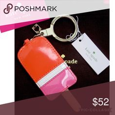 Kate Spade Popsicle Key Chain New with tags, Pink, White and Orange patent Popsicle . Kate Spade heart charm , gold hardware, and comes with dust bag. kate spade Accessories Key & Card Holders