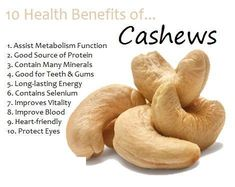 Diet Food Cashew Nuts have many amazing health benefits for human body.Consuming cashews can Improve Bone Health,Prevent Cancer,Prevent Gallstone,high Lemon Benefits, Coconut Health Benefits, Benefits Of Cashews, Fruit Benefits, Health And Nutrition, Health And Wellness, Health Fitness, Nutrition Guide, Workout Fitness