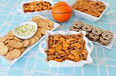 Create a table with simple snacky foods and use a tiny basketball for a decoration - simple but cute #basketball #sports #birthday #party