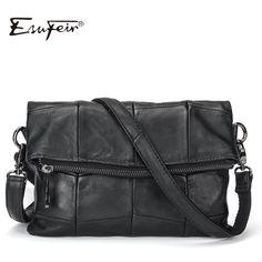 dde4c7431bff7 2017 ESUFEIR Brand Genuine Leather Women Messenger Bag Patchwork Sheepskin  Leather Shoulder Bag Women Crossbody Bag daily Clutch-in Crossbody Bags from  ...
