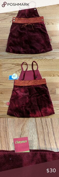 NWT Clayeux Velvet and Silk Jumper Dress Red velvet jumper with silk flowered band by French brand Clayeux. Fully lined with beautiful gold and silver flowered buttons and two settings for straps. New with tags!! Size 4a/102 (4T) Clayeux Dresses Casual Girls Sweater Dress, Baby Girl Sweaters, Dress With Cardigan, Knit Dress, Red Velvet Dress, Dress Red, Betsey Johnson Sunglasses, Britney Jean
