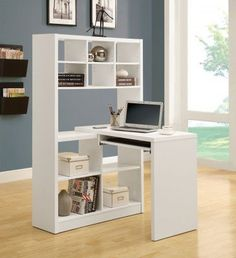 2 in 1.this white hollow-core corner desk is also a shelving unit. This practical desk can be place on the left or right side, while still giving you the same amount of space.