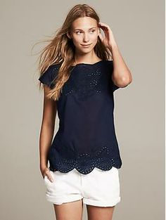 Embroidered Top | Banana Republic-- who doesn't love navy & white??!!
