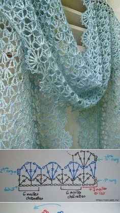 Crochet : in one piece in rows (turning at each row) avant blocage => après blocage edging will add 4 to 5 cms Crochet Shawl Diagram, Crochet Lace Scarf, Crochet Shawls And Wraps, Crochet Scarves, Crochet Clothes, Crochet Stitches, Knit Crochet, Lace Shawls, Knitting Patterns