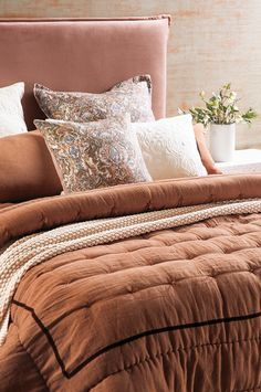 Luchesi cinnamon comforter with Riad sunset cushion and eurocase and Renzo old rose headboard Bed Linen Design, Bed Design, Linen Fabric, Linen Bedding, Fine Linens, Contemporary Interior, Bed Spreads, Rust, Comforters