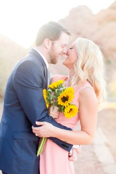 Gorgeous sunflower engagement session in Scottsdale, Arizona. Bride wore a cute pink sundress and the groom wore a slate blue suit. Photographed by wedding photographers Amy and Jordan Demos Engagement Photo Outfits, Engagement Couple, Engagement Pictures, Engagement Session, Engagements, Outdoor Wedding Photography, Engagement Photography, Couple Photography, Amy And Jordan
