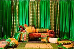 DST International manufactures and export all types of Embroidered Wedding Backdrops Curtains, Arch Type Wedding Backdrop, Red Golden Glittering Backdrop,