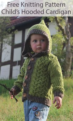 Free Knitting Pattern for Child's Cardigan With Hood - Cabled long-sleeved sweater with hood. Sizes To Fit Age: 2 to 7 Years, Aran weight yarn. Designed by Sue Hanmore for Artesano. Pictured project by