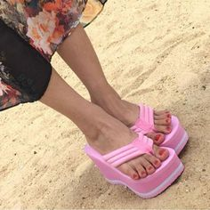 Hot 2017 High Heels Women Flip Flops Summer Sandals Platform Wedges Slippers  Girl s Fashion Beach Shoes Woman dadec22a054d