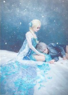 Elsa and Jack cosplay