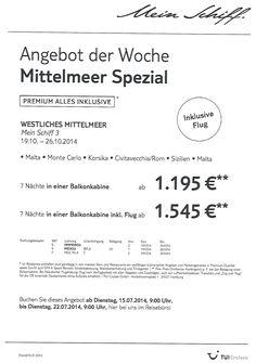 Angebot der Woche ---Mittelmeer Spezial--- www.alpentravelservice.de
