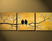 Love Birds, HUGE 36 x 12, Acrylic painting canvas, gallery wrapped, ready to hang, ORIGINAL One of a Kind Blue White silver WEDDING gift. $139.00, via Etsy.