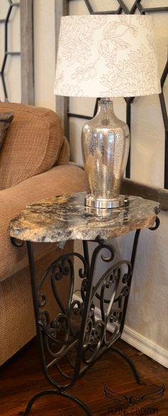 side table made from remnant of granite counter top