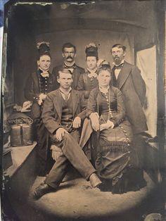 LtoR back- Big nose Kate, Doc Holliday, Wilhelmina Horony, Crawley P. Dake, LtoR front Wyatt, Louisa Earp. Original image from the collection of P. W. Butler