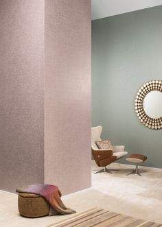 This collection will take you for a joyful walk through the effervescence of the arteries of Manhattan, Chicago or Miami, full of eclectic and timeless influences. Pink Home Decor, Pink Walls, Powder Pink, Pastel Blue, Colours, Living Room, Pastels, Interior, Modern