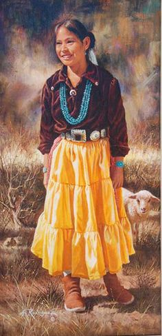 Original Painting, Girl from Chinle by Alfredo Rodriguez