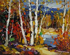 Last Leaves of Fall, 8 x 10, oil on canvas by Tinyan Chan at a Scottsdale art gallery