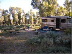 Gros Ventre Campground, Grand Teton National Park, Wyoming.  No hookups.  Moose!!  Closest to Jackson.