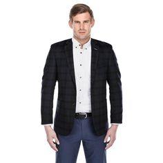 Verno Men's Navy Blue and Green Tartan Plaid Wool Blend Slim-fit Blazer