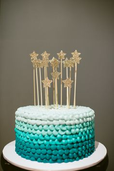 Teal Ombre Cake for this Wish Upon a Star Baby Shower
