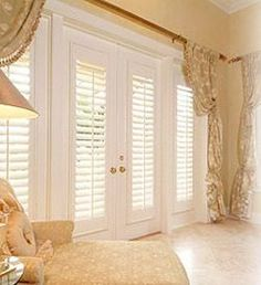 Plantation Shutters in the bedroom leading out to my patio or in my living room opening onto my pool & the ocean. Home, House Styles, Family Room, Interior Window Shutters, California Shutters, New Homes, French Doors, Door Window Treatments, French Door Curtains