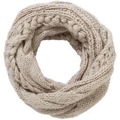 John Lewis Cable Knit Snood, Cream ❤ liked on Polyvore