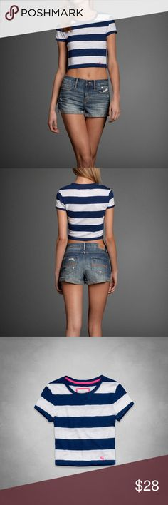 Abercrombie & Fitch Iris Striped Crop Top Brand New Without Tag  Brand: Abercrombie and Fitch Color: Navy/White and the logo is Pink Size: XS Material: 60% Cotton 40% Modal Abercrombie & Fitch Tops Crop Tops