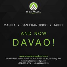 Bolstering its presence in the #outsourcing industry, multilingual #CallCenter Open Access BPO will soon mark its second expansion in Asia this year, as it launches a new office in the Philippines safest city, #Davao, on August 11.  Come and join us in this journey!   #DavaoCallCenter | #OpenAccessBPODavao