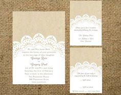 PRINTABLE Kraft and Lace Doily Wedding Invitation Set. $60.00, via Etsy.